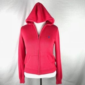 Ralph Lauren Pink Cotton Zip Hoodie Cardigan L